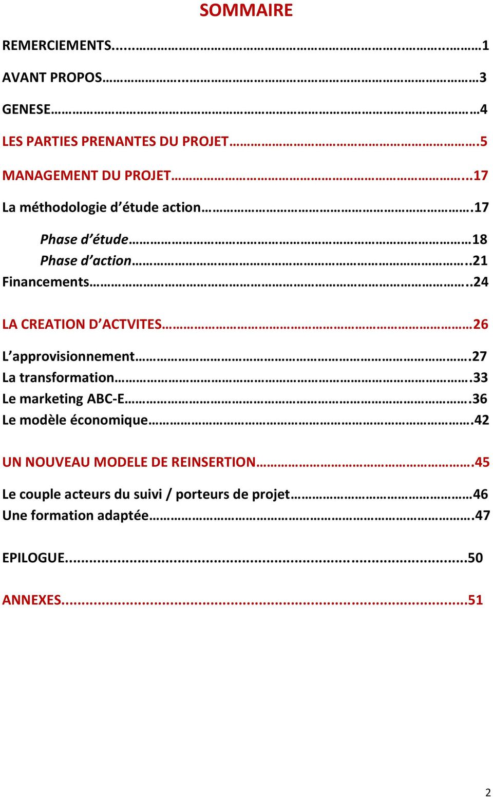 .24 LA CREATION D ACTVITES 26 L approvisionnement.27 La transformation.33 Le marketing ABC-E.
