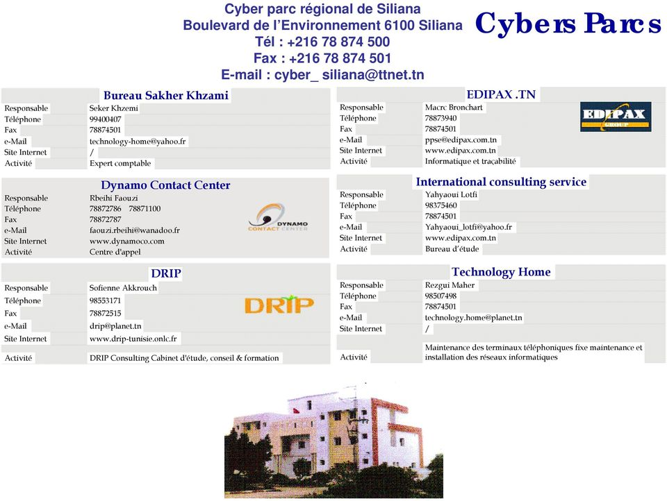 com.tn www.edipax.com.tn Informatique et traçabilité EDIPAX.TN International consulting service Yahyaoui Lotfi 9837546 7887451 Yahyaoui_lotfi@yahoo.fr www.edipax.com.tn Bureau d étude DRIP Sofienne Akkrouch 98553171 78872515 drip@planet.