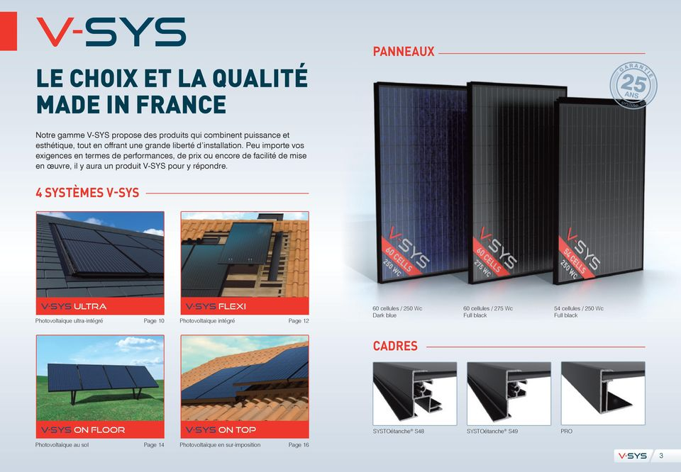 4 SYSTÈMES Ultra Photovoltaïque ultra-intégré Page 10 Flexi Photovoltaïque intégré Page 12 60 cellules / 250 Wc Dark blue 60 cellules / 275 Wc Full black 54