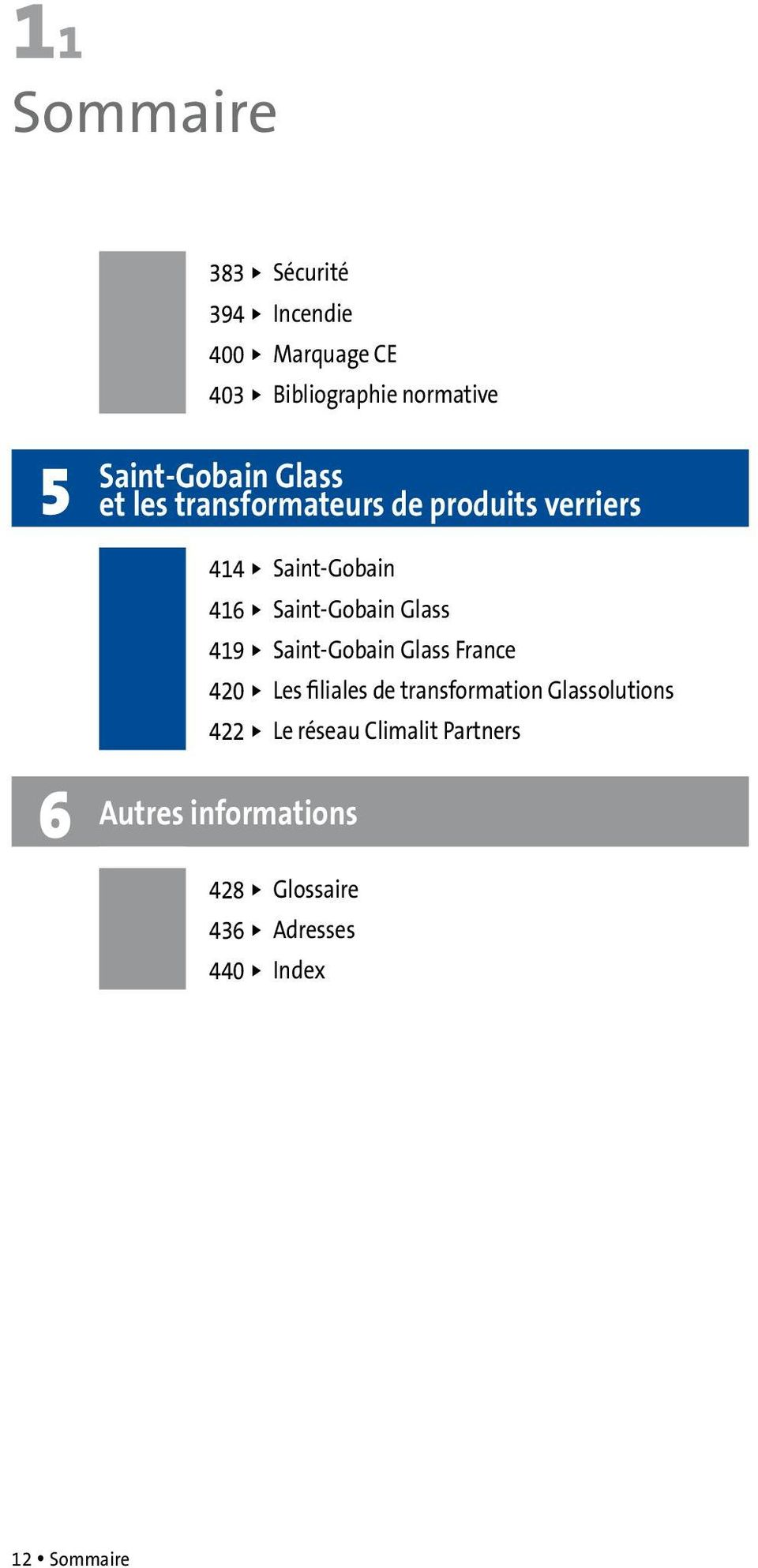 Saint-Gobain Glass 419 u Saint-Gobain Glass France 420 u Les filiales de transformation