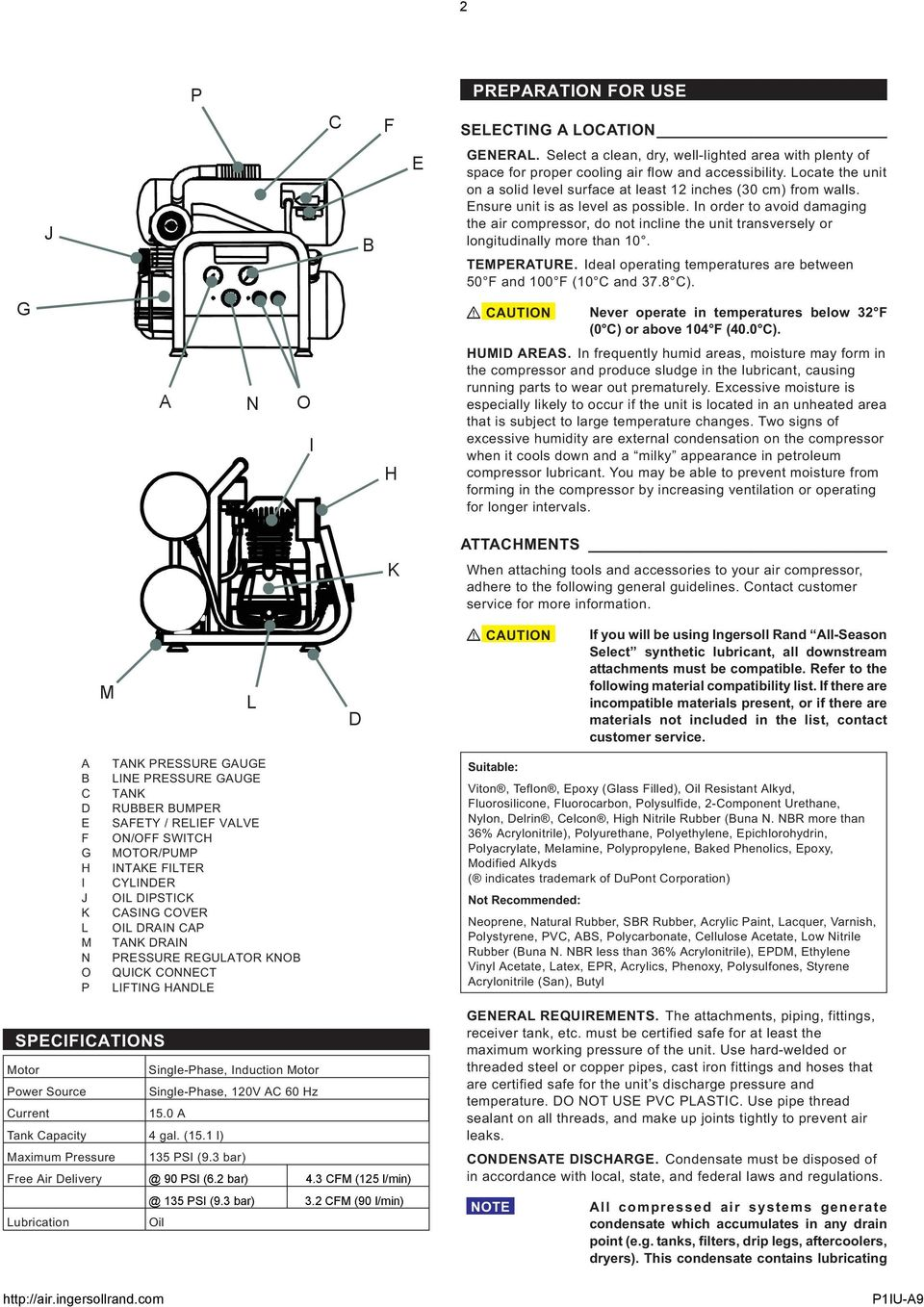 ingersoll rand portable air compressor manual