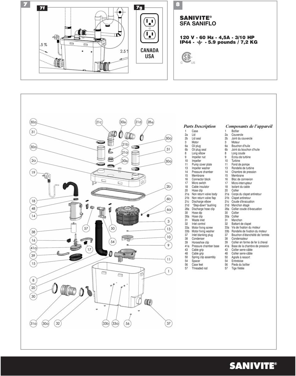 15 Membrane 16 Connector block 17 Micro switch 18 Cable insulator 20 Hose clip 21a Non return valve body 21b Non return valve flap 21c Discharge elbow 21d Step-down bushing 28a Discharge hose clip 30
