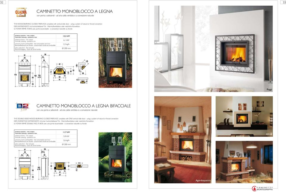 12,2 kw 6,1 kw 2,3 kg/h Ø 200 mm Raggi CAMINETTO MONOBLOCCO A LEGNA BIFACCIALE con una porta a saliscendi - ad aria calda ventilata o a convezione naturale THE DOUBLE-SIDED WOOD-BURNING CLOSED