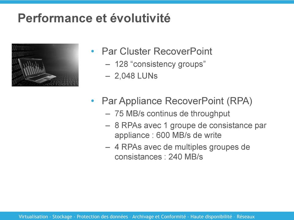 throughput 8 RPAs avec 1 groupe de consistance par appliance : 600