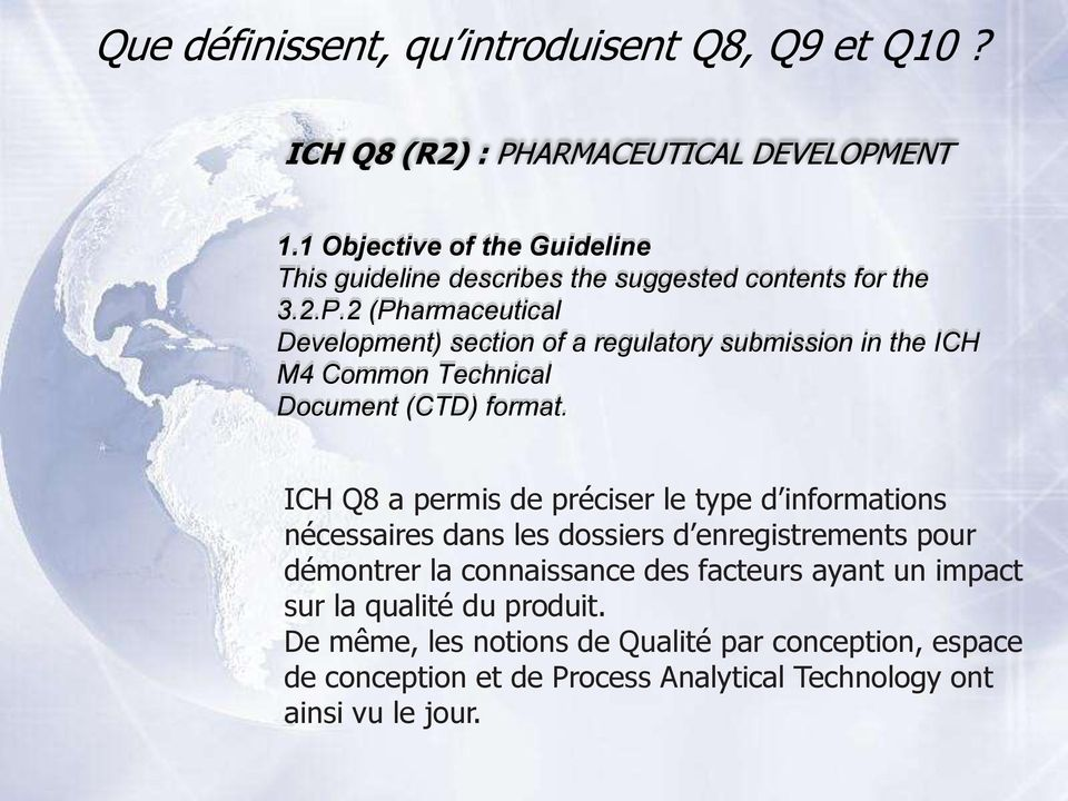 2 (Pharmaceutical Development) section of a regulatory submission in the ICH M4 Common Technical Document (CTD) format.
