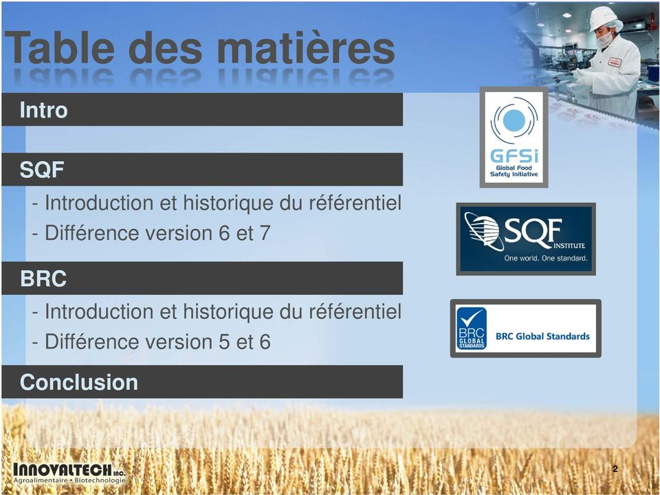 6 et 7 BRC - Introduction et  5 et 6 Conclusion