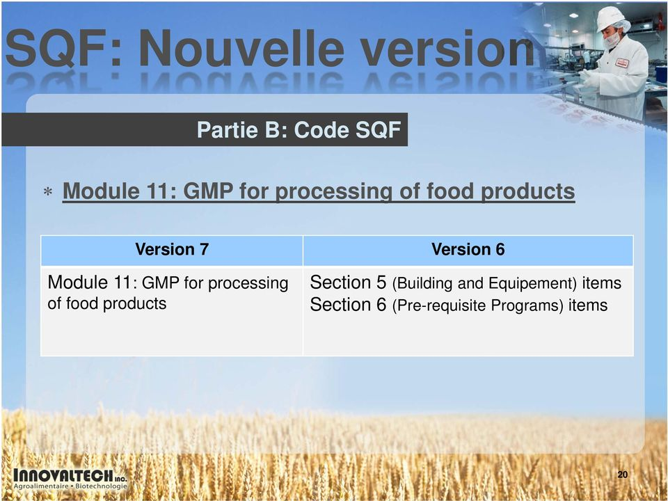 11: GMP for processing of food products Section 5 (Building