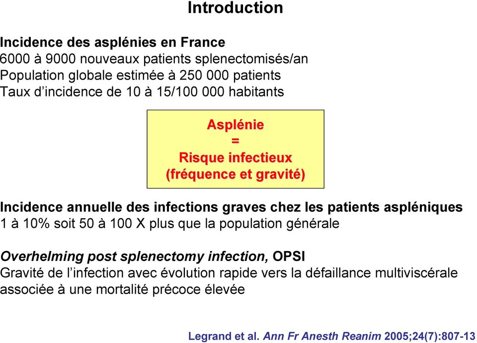 patients aspléniques 1 à 10% soit 50 à 100 X plus que la population générale Overhelming post splenectomy infection, OPSI Gravité de l infection