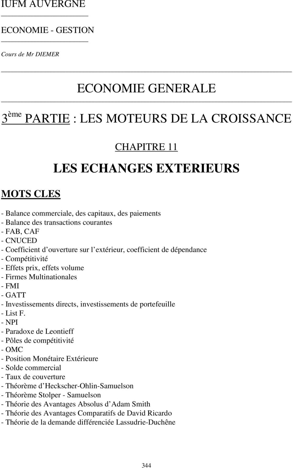 Multinationales - FMI - GATT - Investissements directs, investissements de portefeuille - List F.