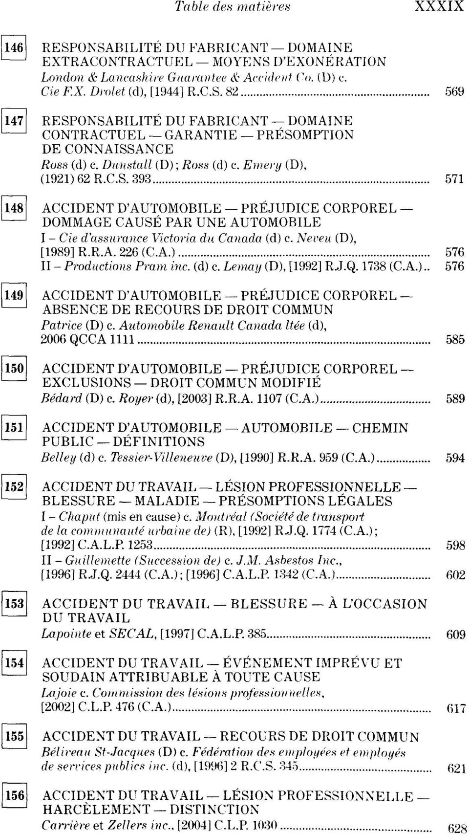 Neveu (D), [989] R.R.A. 226 (CA.) 576 II - Productions Pram inc. (d) c. Lemay (D), [992] RJ.Q. 738 (CA.).. 576 Ï49] ACCIDENT D'AUTOMOBILE PRÉJUDICE CORPOREL ' ABSENCE DE RECOURS DE DROIT COMMUN Patrice (D) c.