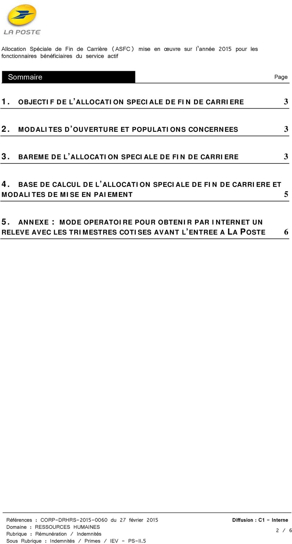 BAREME DE L ALLOCATION SPECIALE DE FIN DE CARRIERE 3 4.