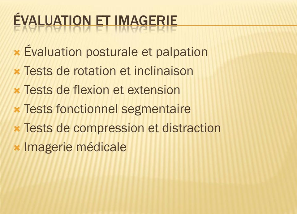 de flexion et extension Tests fonctionnel