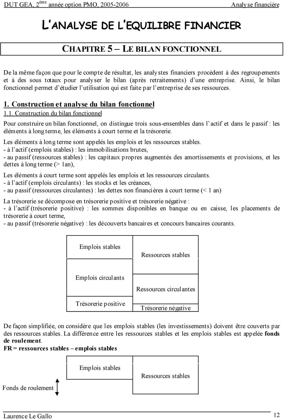 Construction et analyse du bilan fonctionnel 1.