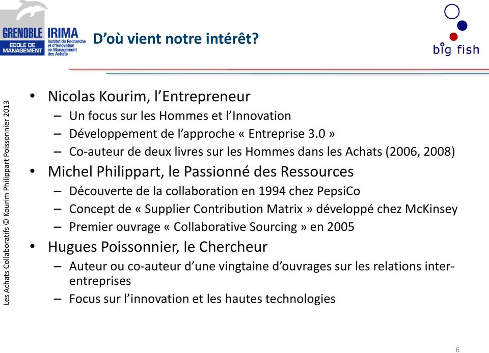 collaboration en 1994 chez PepsiCo Concept de «Supplier Contribution Matrix» développé chez McKinsey Premier ouvrage «Collaborative Sourcing» en