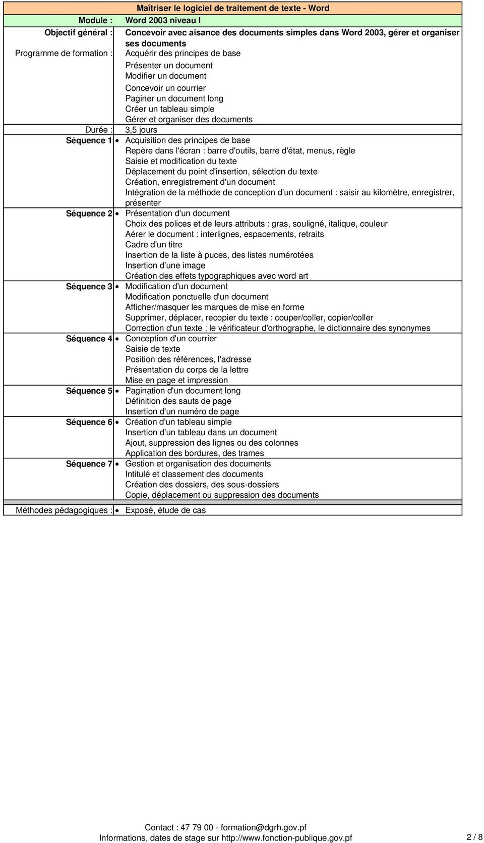 Repère dans l'écran : barre d'outils, barre d'état, menus, règle Saisie et modification du texte Déplacement du point d'insertion, sélection du texte Création, enregistrement d'un document