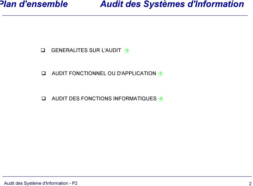 FONCTIONNEL OU D'APPLICATION AUDIT DES