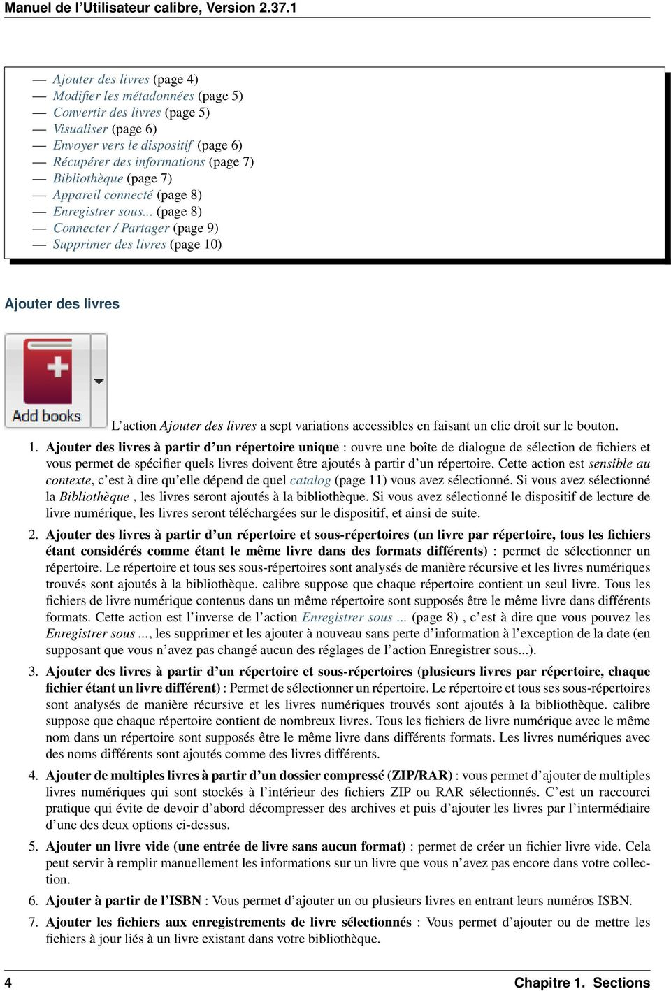 .. (page 8) Connecter / Partager (page 9) Supprimer des livres (page 10