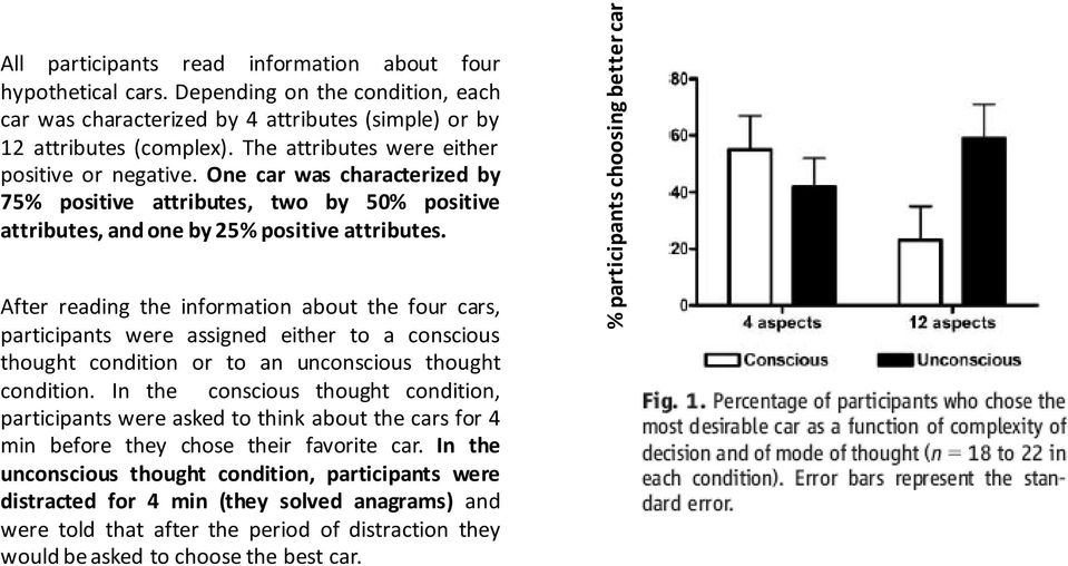 One car was characterized by 75% positive attributes, two by 50% positive attributes, and one by 25% positive attributes.