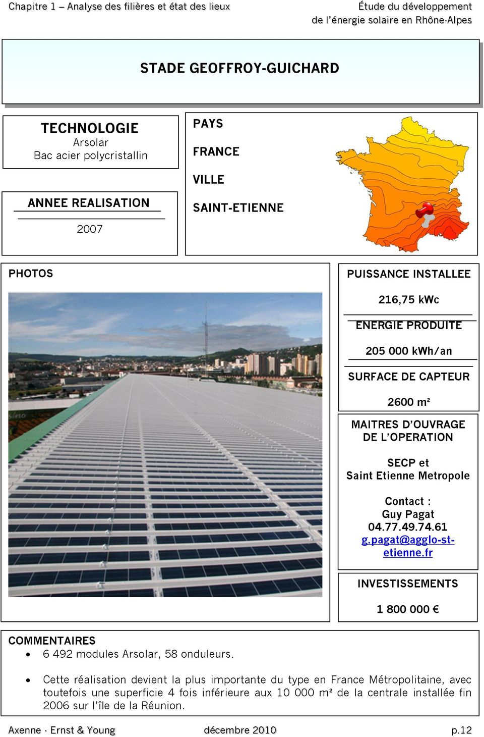 49.74.61 g.pagat@agglo-stetienne.fr INVESTISSEMENTS 1 800 000 COMMENTAIRES 6 492 modules Arsolar, 58 onduleurs.