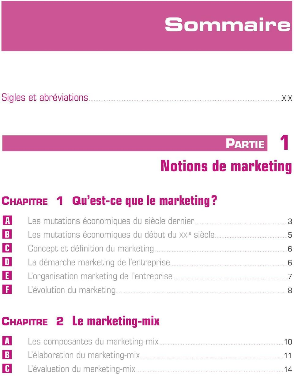 ........................................... 5 C Concept et définition du marketing................................................................................ 6 D La démarche marketing de l entreprise.