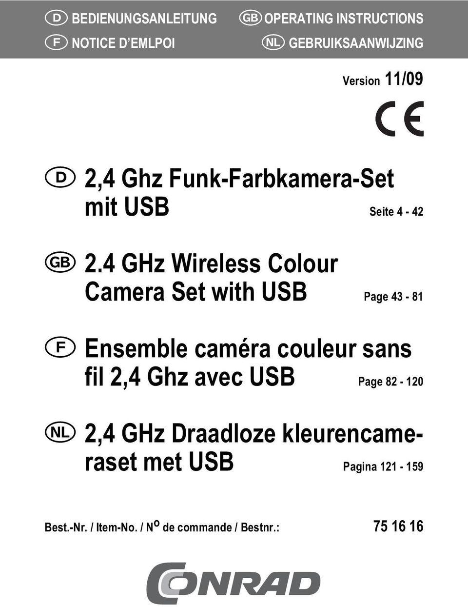4 GHz Wireless Colour Camera Set with USB Page 43-81 Ensemble caméra couleur sans fil 2,4