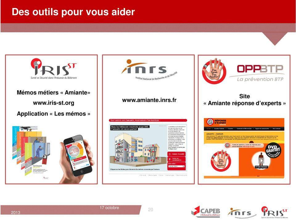 org Application «Les mémos» www.amiante.