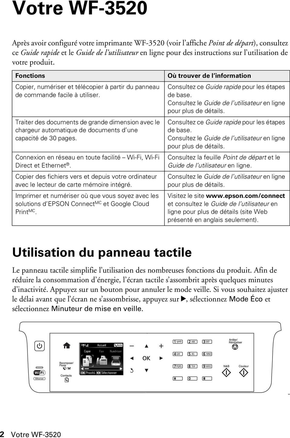 Traiter des documents de grande dimension avec le chargeur automatique de documents d une capacité de 30 pages. Connexion en réseau en toute facilité Wi-Fi, Wi-Fi Direct et Ethernet.