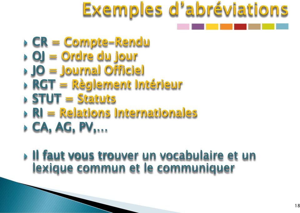 Relations Internationales CA, AG, PV, Il faut vous