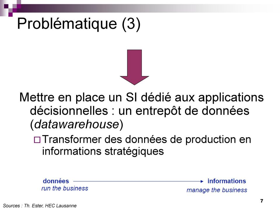 (datawarehouse) Transformer des données de production