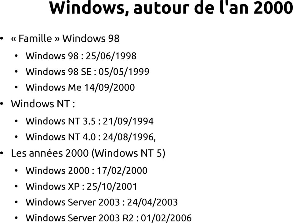 5 : 21/09/1994 Windows NT 4.