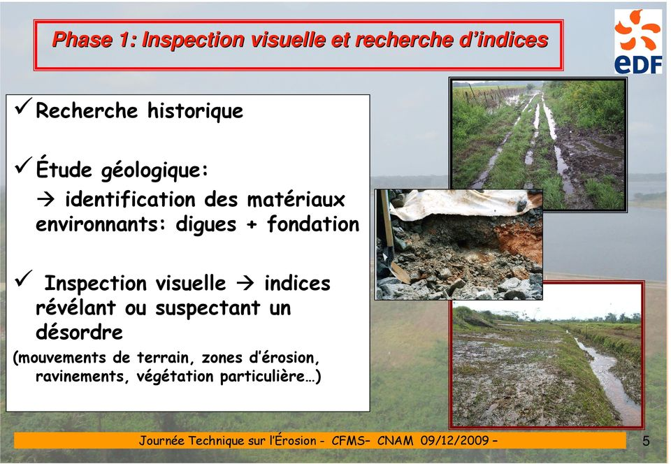 fondation Inspection visuelle indices révélant ou suspectant un désordre
