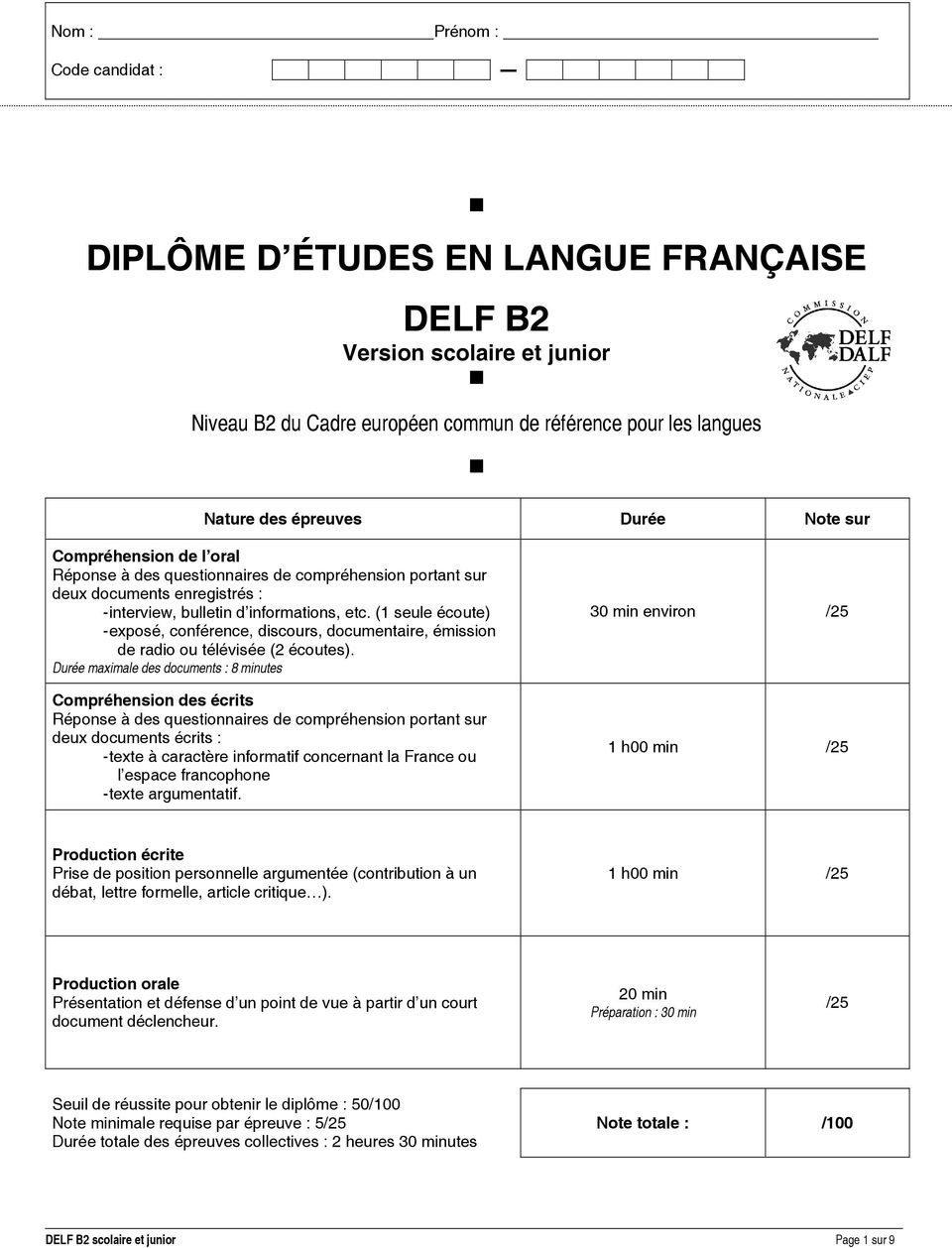 Compréhension de l oral Réponse à des questionnaires de compréhension portant sur deux documents enregistrés : - interview, bulletin d informations, etc.