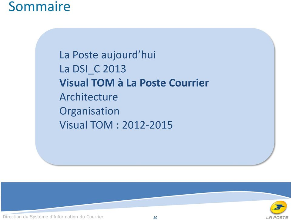 Organisation Visual TOM : 2012-2015