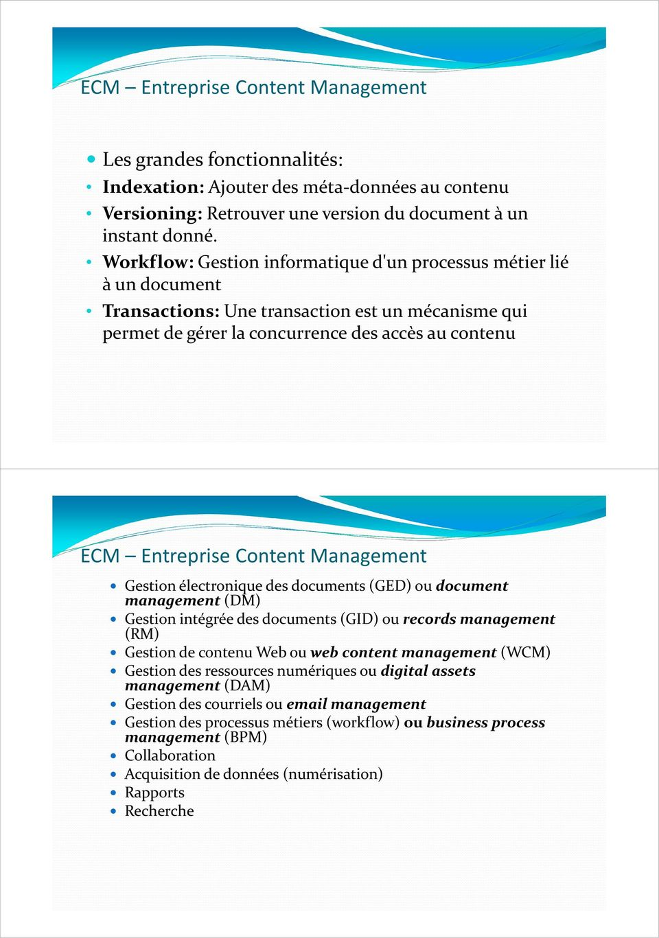 Management Gestion électronique des documents (GED) ou document management(dm) Gestion intégrée des documents (GID) ou records management (RM) Gestion de contenu Web ou web content management(wcm)