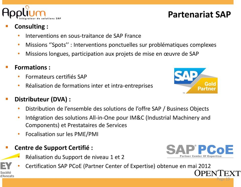 Distribution de l ensemble des solutions de l offre SAP / Business Objects Intégration des solutions All-in-One pour IM&C (Industrial Machinery and Components) et