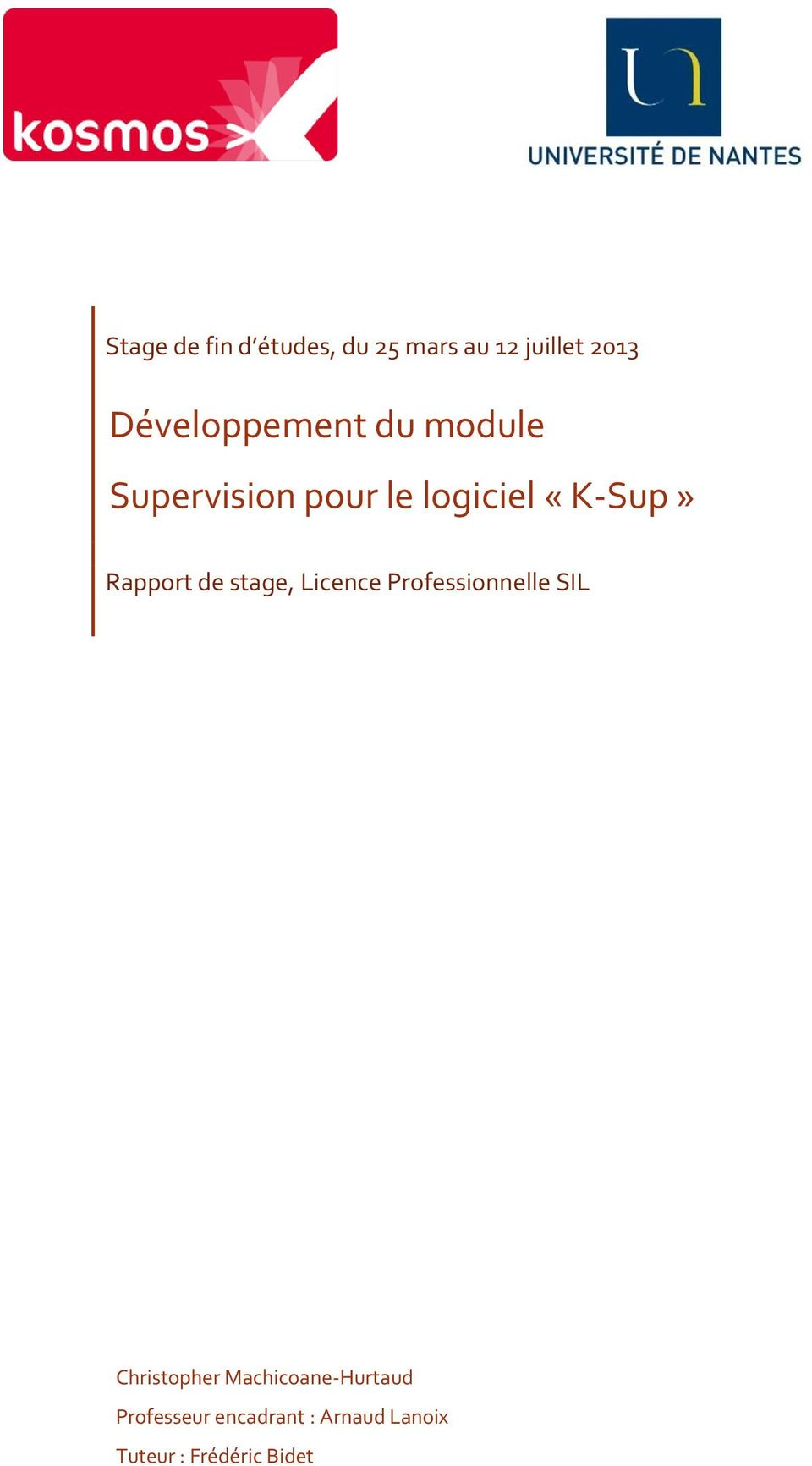 Rapport de stage, Licence Professionnelle SIL Christopher