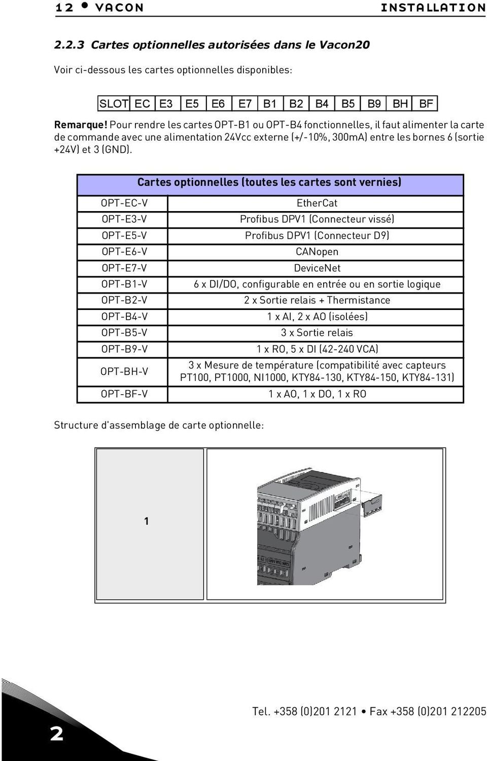 Cartes optionnelles (toutes les cartes sont vernies) OPT-EC-V EtherCat OPT-E3-V Profibus DPV1 (Connecteur vissé) OPT-E-V Profibus DPV1 (Connecteur D9) OPT-E6-V CANopen OPT-E7-V DeviceNet OPT-B1-V 6 x