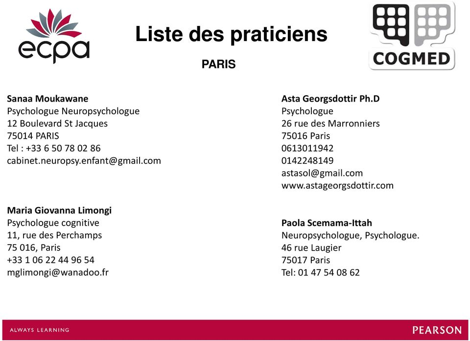 com Maria Giovanna Limongi Psychologue cognitive 11, rue des Perchamps 75 016, Paris +33 1 06 22 44 96 54 mglimongi@wanadoo.