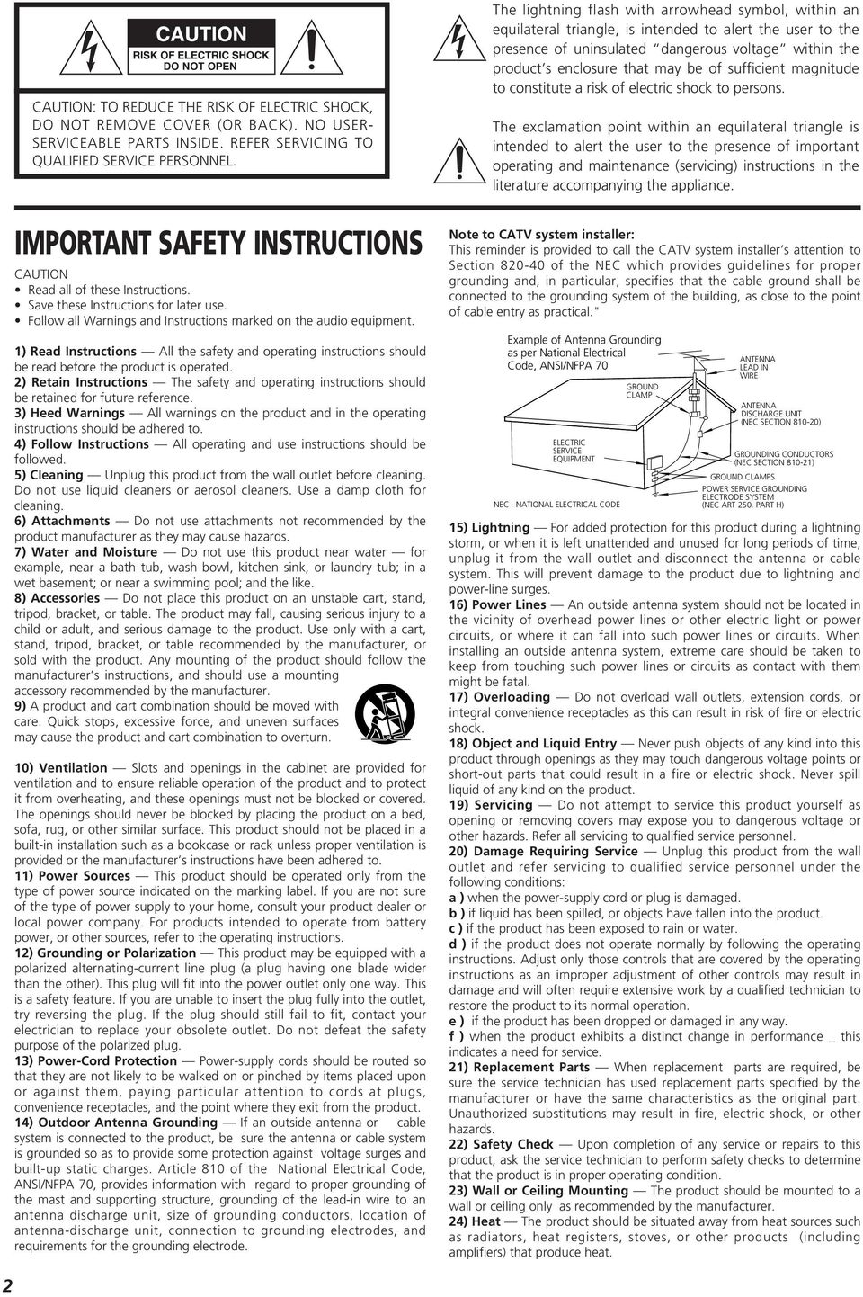 1) Read Instructions All the safety and operating instructions should be read before the product is operated.