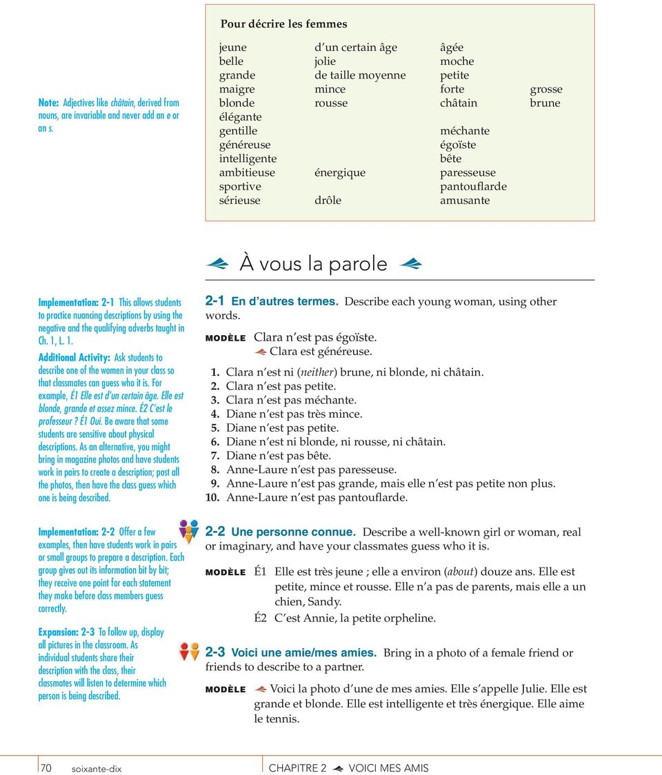 ambitieuse énergique paresseuse sportive pantouflarde sérieuse drôle amusante À vous la parole Implementation: 2-1 This allows students to practice nuancing descriptions by using the negative and the