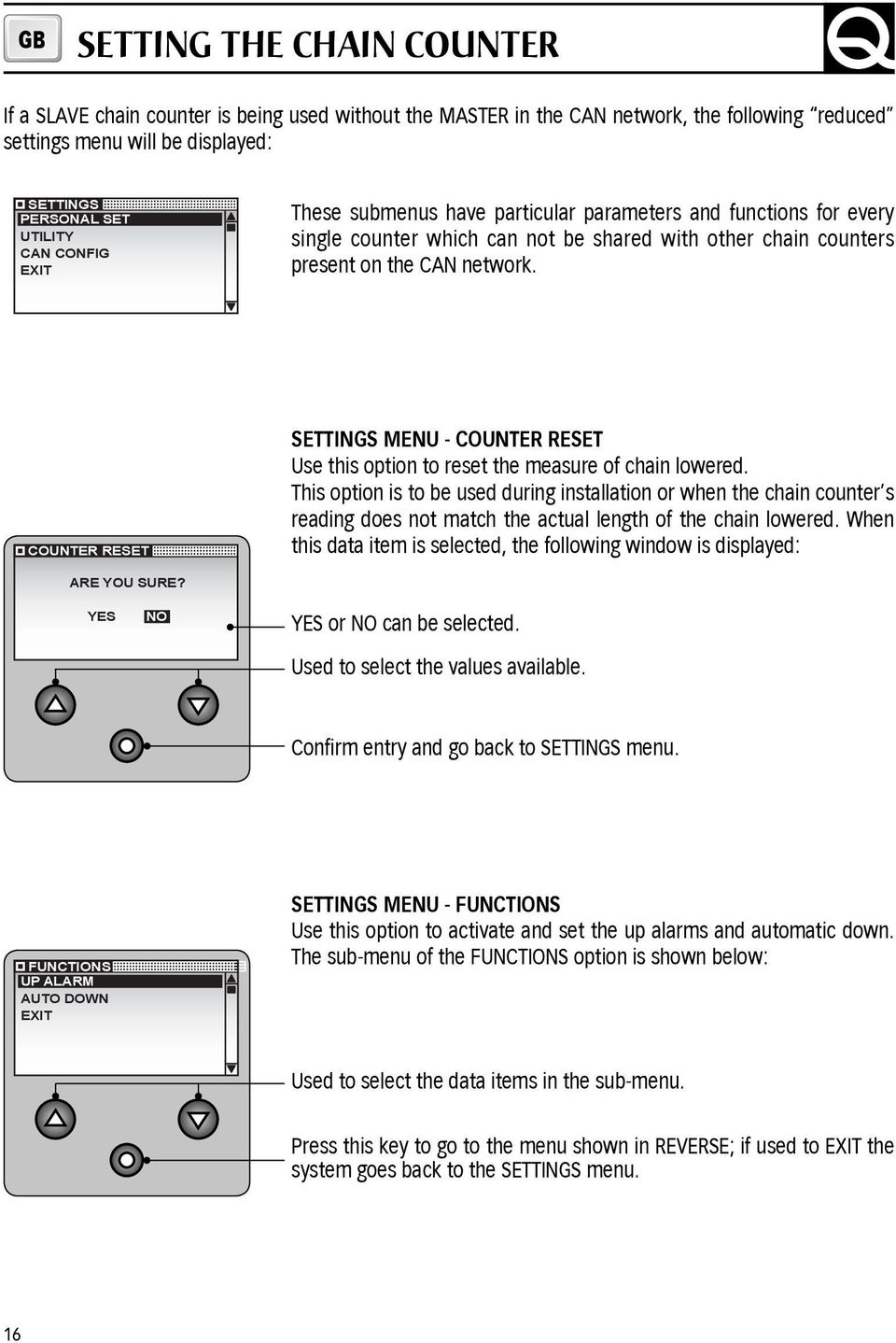 COUNTER RESET SETTINGS MENU - COUNTER RESET Use this option to reset the measure of chain lowered.