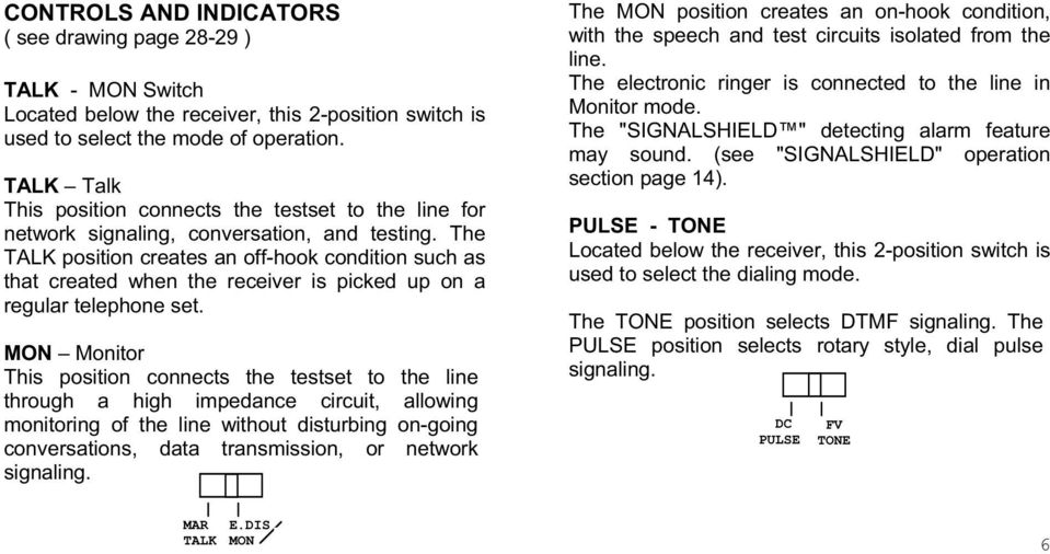 The TALK position creates an off-hook condition such as that created when the receiver is picked up on a regular telephone set.