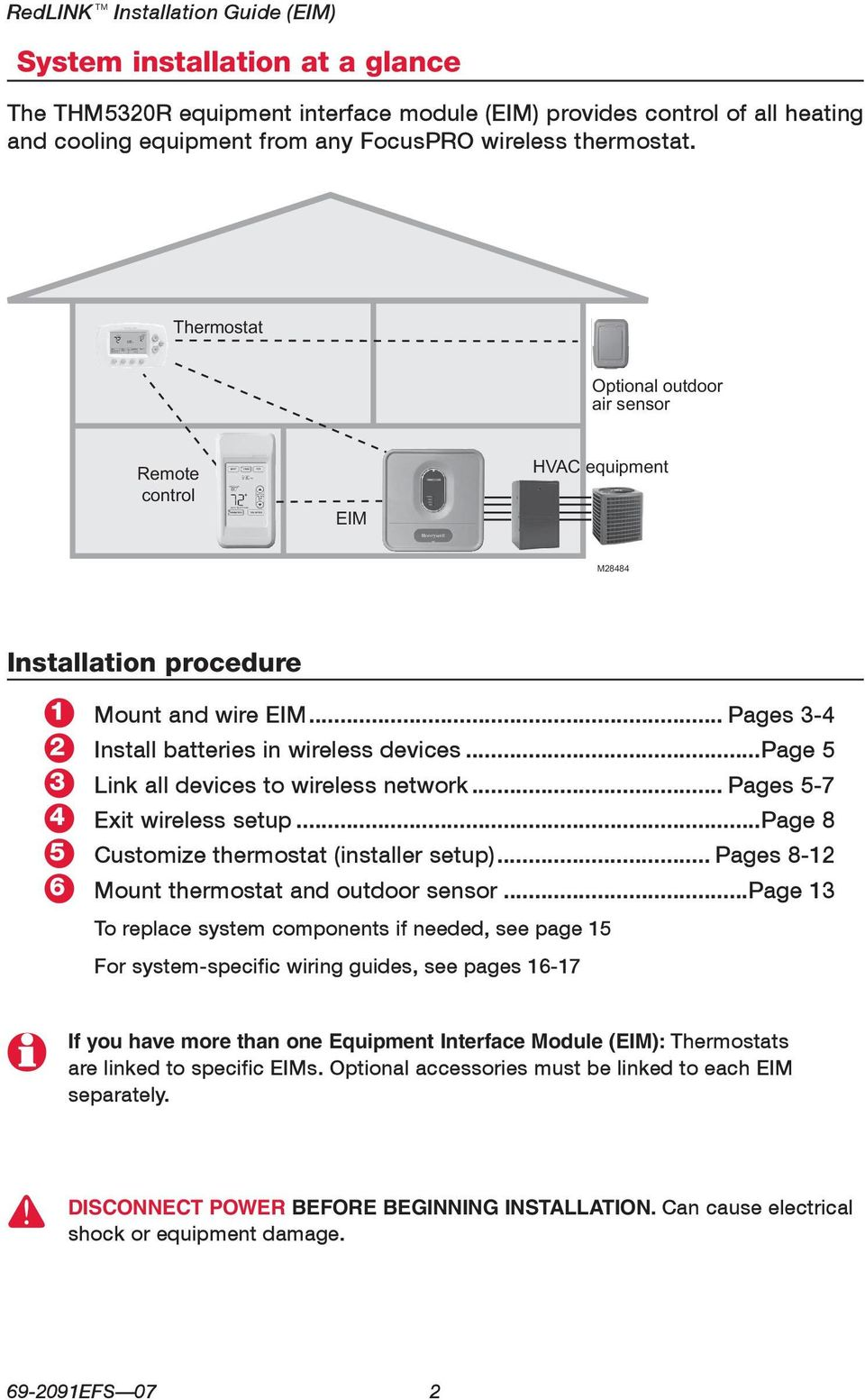 ..page 5 Link all devices to wireless network... Pages 5-7 Exit wireless setup...page 8 Customize thermostat (installer setup)... Pages 8-12 Mount thermostat and outdoor sensor.