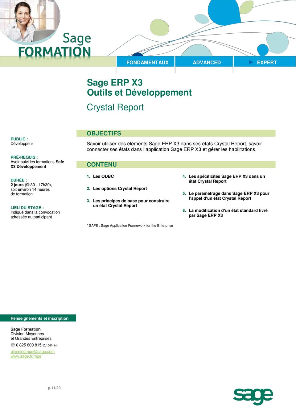 Les options Crystal Report 3.