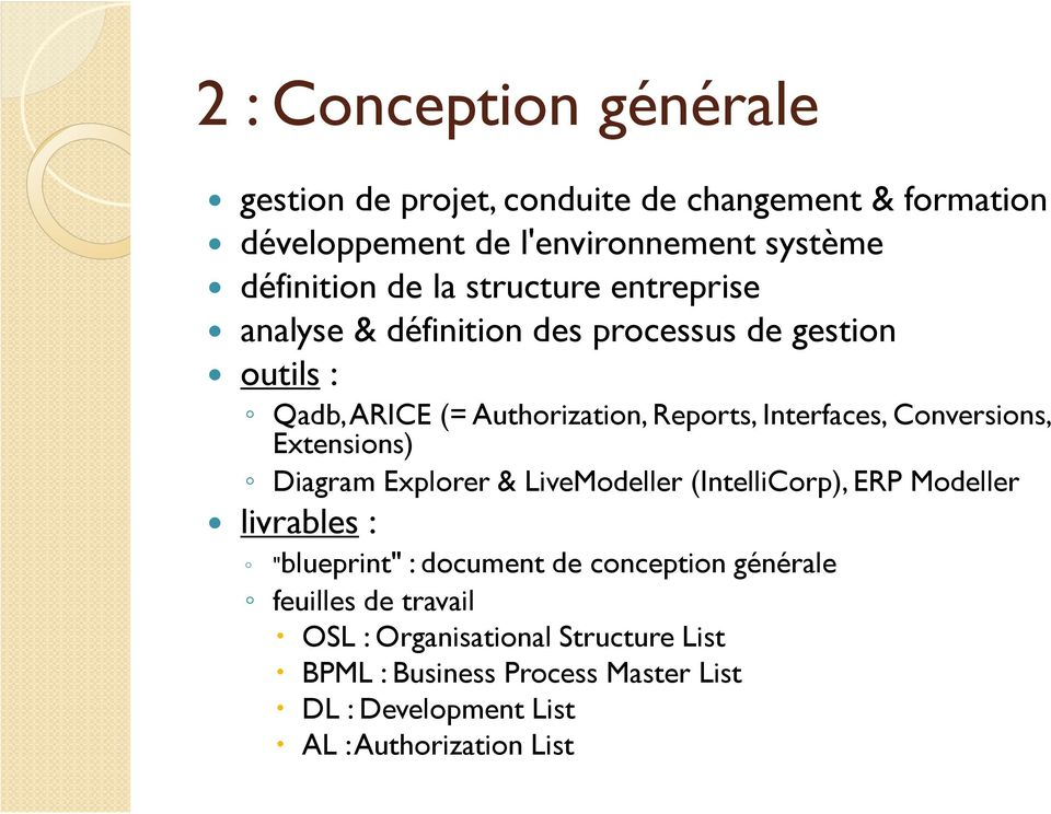 "Conversions, Extensions) Diagram Explorer & LiveModeller (IntelliCorp), ERP Modeller livrables : ""blueprint"" : document de conception"