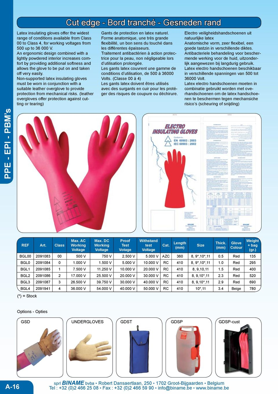 Non-supported latex insulating gloves must be worn in conjunction with a suitable leather overglove to provide protection from mechanical risks.