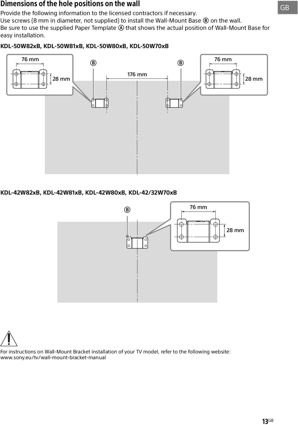 Be sure to use the supplied Paper Template A that shows the actual position of Wall-Mount Base for easy installation.