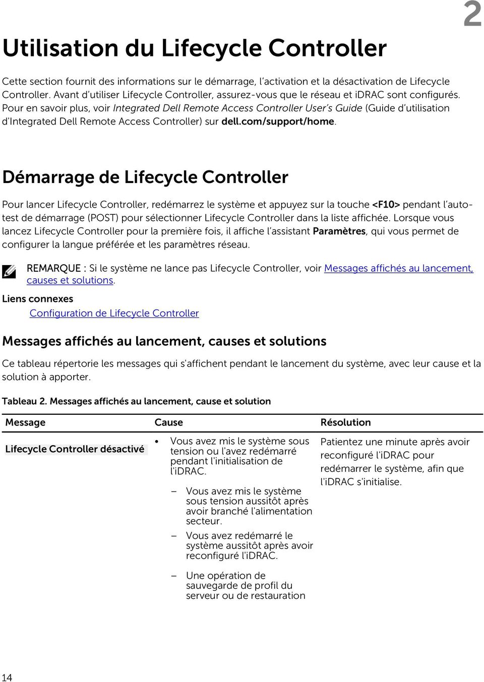 Pour en savoir plus, voir Integrated Dell Remote Access Controller User s Guide (Guide d utilisation d'integrated Dell Remote Access Controller) sur dell.com/support/home.
