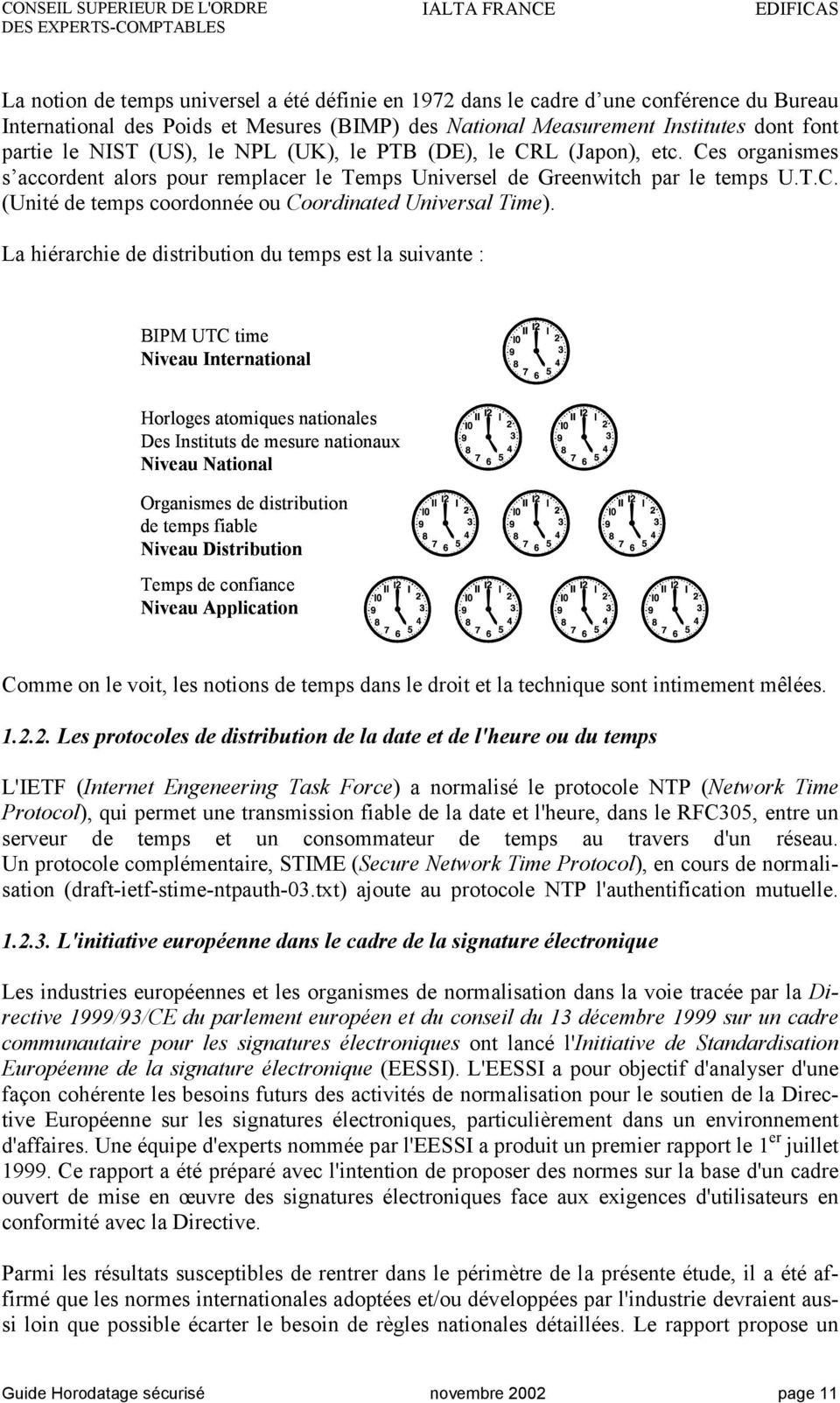 La hiérarchie de distribution du temps est la suivante : BIPM UTC time Niveau International Horloges atomiques nationales Des Instituts de mesure nationaux Niveau National Organismes de distribution