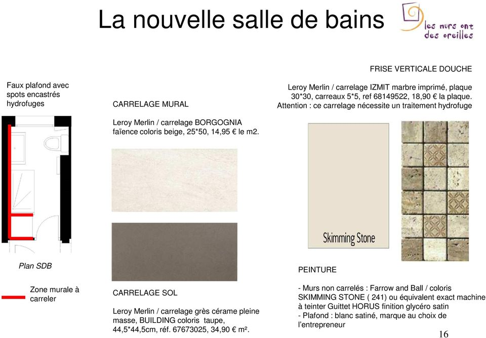 Attention : ce carrelage nécessite un traitement hydrofuge Plan SDB Zone murale à carreler CARRELAGE SOL Leroy Merlin / carrelage grès cérame pleine masse, BUILDING coloris taupe,